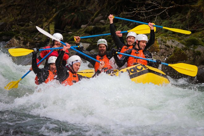 A stag group rafts the Canyon on April 8 2017