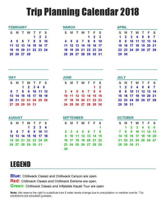 trip planning calendar 2018